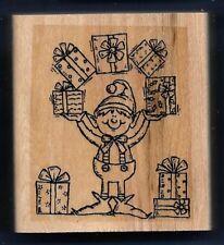 SANTA'S ELF JUGGLE Christmas Holiday FUN Gift tag Stampin' Up! 2000 RUBBER STAMP
