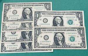Random Lucky 333 Fancy Serial Number $1 Bill Note Currency! 3 Consecutive 3's!