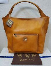 New Pratesi Antique Cognac Italian Leather Women's Top-Zip Hobo Bag