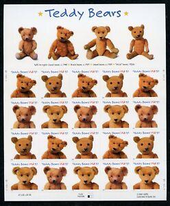 US Scott 3653-3656 Teddy Bears Sheet of 20