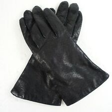 82ec7e742 Vintage Black Leather Gloves 100% Acrylic Lined Sz.7 9