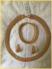 Parure Collier /  Bracelet / Boucles D'oreilles Plaqué Or Maille Am