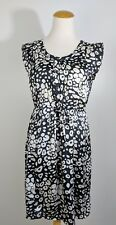 Old Navy Summer Black White Dress High Waist Tie Front Button Sleeveless XS