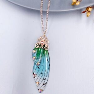 Fairy Gold Pendant Resin Green Butterfly Wing Necklace Thanksgiving Jewelry