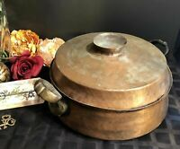 Antique Hand Hammered Cooper Pot With Large Brass Handles Rare size