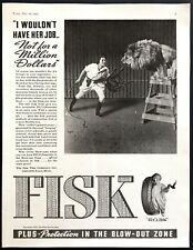 1937 Woman Lion Tamer & Lion on Stool in Cage photo Fisk Tires vintage print ad