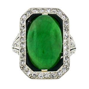 Antique Art Deco Platinum 7.80ctw GIA Natural Jade & Diamond Black Enamel Ring