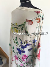Watercolour Painted Garden Flower/Floral Washed Chiffon  Dressmaking Fabric