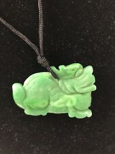 Green Jade Necklace Pendant Foo Dog Glass Black Cord Necklace Chinese
