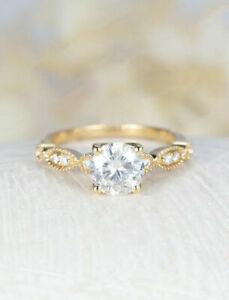 14K Yellow Gold Over 1.22ct Round cut Diamond Engagement Wedding Ring Jewelry