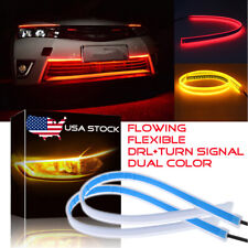 60CM Slim Red Amber Sequential Flexible LED DRL Turn Signal Headlight Strip US