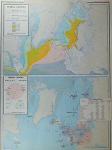 VINTAGE LARGE MAP FISHING GROUNDS & EFFORT ARCTIC CIRCLE BRITISH ISLES 1955
