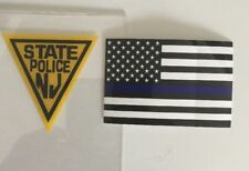 NJ  New Jersey State Police In-Windshield *Auth Decal 1+1 Flag BlueLine **Others