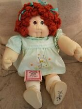 soft sculpture cabbage patch kids baby brown eye girl red perm