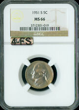 1951-S JEFFERSON NICKEL NGC MS66 4-FS 2ND FINEST SPOTLESS  GC $1,000.00 FOR A FS