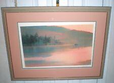 Fisherman At Dawn by Nita Engle, numbered, 1987 COA signed watercolor print