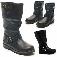 NEW GIRLS SNOW BOOTS ZIP BIKER RIDING BLACK MID CALF KIDS ANKLE SHOES UK SIZES