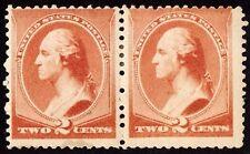 Us Sc# 210 *Mint Pog H* { 2c Washington Pair } Orange Brown From 1883 Series