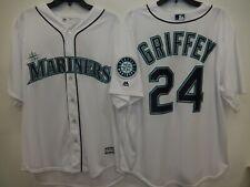 """0415 Majestic Seattle Mariners KEN GRIFFEY """"Cool Base"""" Baseball JERSEY White New"""