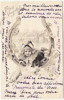 LITTLE GIRL & HORSESHOE - Pig - Happy New Year - 1902 used postcard