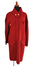 Auth CHANEL CC Logos Long Winter Coat Red 100% Wool Vintage #38 France NR10672f