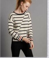 M & S AUTOGRAPH PURE CASHMERE WHITE & NAVY OR NAVY & WHITE STRIPED JUMPER