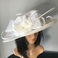NIGEL RAYMENT IVORY FORMAL WEDDING ASCOT HAT  MOTHER OF THE BRIDE OCCASION