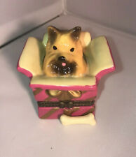 Yorkie In A Wrapped Present Hinged Treasure Box With Bone Piece