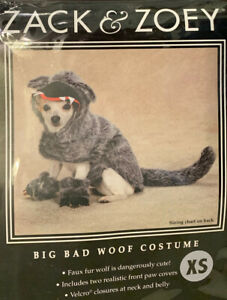 Zack & Zoey Big Bad Woof Wolf Dog Halloween Costume NIP XS Fluffy Plush