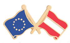 Autriche & Union Européenne Eu Drapeau Amitié Courtoisie Plaqué or Broche Badge