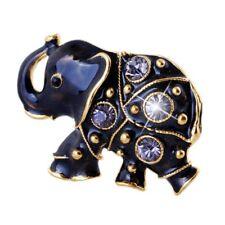 Black Animal Elephant Crystal Rhinestone Brooch Pin Women Costume Jewelry Gift