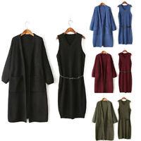 Women Winter Loose Woolen Warm Knit Solid Sweater Outwear Dress+Coat 2-Piece Set