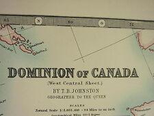 1896 grandes victorianas Mapa ~ Dominio de Canadá Occidental Central Manitoba Ontario