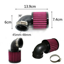 90° Angled Round Moped Scooter ATV Air Filter Mesh Universal 45-48mm Inlet Black