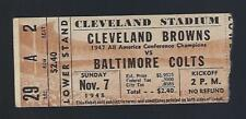 1948 AAFC BALTIMORE COLTS @ CLEVELAND BROWNS FOOTBALL TICKET STUB