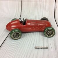 METTOY RED RACING CAR SINGLE SEATER TIN PLATE CLOCKWORK WIND UP