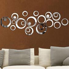 24pcs Kreis 3D Spiegel Wandtattoo Wanddeko Wanddekoration Zimmer Aufkleber Neu