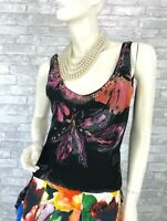 Roberto Cavalli New Black Pink Floral Blouse Dress Top 4 US 40 IT S Runway Auth