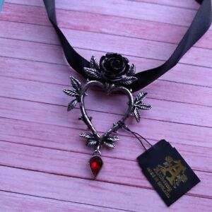 New Alchemy Gothic Pewter Guirlande d'Amour Black Rose Heart Pendant Necklace