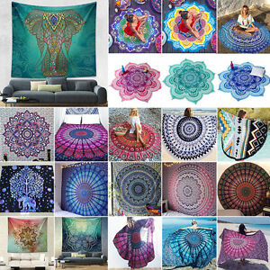 Mandala Tapestry Bohemian Floral Indian Throw Beach Towel Blanket Bedspread Mat