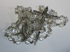 "† VINTAGE ""HALO STYLE"" STERLING CUT ROCK CRYSTAL ROUND ROSARY 31"" 34.23 GRS †"