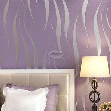 10M Home Bedroom Improvement Non-woven Luxury 3D Wave Flocking Wallpaper Rolls