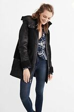 NWT ABERCROMBIE&FITCH LADYS BLACK FAUX SHEARLING COLD WEATHER COAT PARKA SIZE S