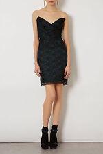 Topshop Limited Edition Black & Forest Green Lace Bandeau Dress UK 8 EUR 36 US 4