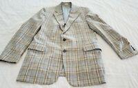 Vintage 1970s Plaid Tweed Blazer 44 Light Blue Tan Gray Pimp Jacket Coat Leisure