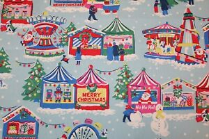 Cath Kidston Blue Christmas Fairground Cotton Duck Fabric FQ By the Metre Xmas