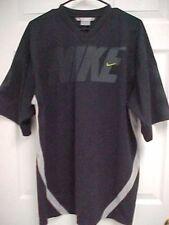 Nike Men Embroidered Sewn Stitched Logo Black Gray Football Jersey Shirt L