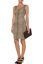 Diane von Furstenberg DVF Arianna Leopard Jacquard & Jersey Dress 12- L