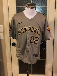 Milwaukee Brewers #22 Christian Yelich Gray Jersey