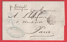 MONTEVIDEO URUGUAY 1872 PARIS PAR BATEAU VAPEUR SENEGAL LETTRE COVER